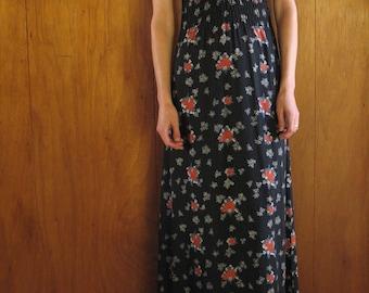 1970s black floral maxi dress, s - m