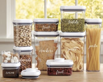 Pantry Container Labels   Kitchen Container Labels   Custom Vinyl Stickers   Pantry Organization