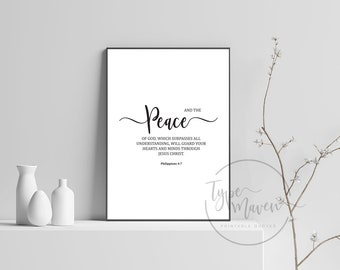 Peace ~ Printable Quote, Wall Art, Calligraphy, Bible Quote, Philippians