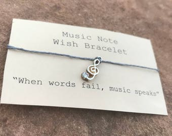 Music Note Wish Bracelet - Choir Director Gift - Anniversary - Birthday - Wedding - Jewelry - Charm Bracelet - Valentine's Day