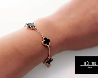 Double sided Red or Black Clover Bracelet