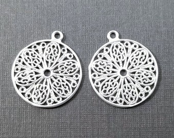 2 pc - 17x15mm - Silver Filigree Floral Pendant Charm - PC-0257