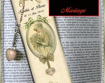 "Plastified bookmark personalized ""Wedding"""
