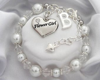 Flower Girl White pearl Wedding Bracelet Flowergirl bracelet Bracelet for Flower girl flower girl gift Flower girl Jewelry flower girl pearl