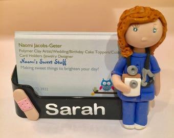 Polymer clay business card holder, Nurse business card holder,doctor,nurse,charming,fun,medicine,pills,prescription bottle,pharmacy,drug