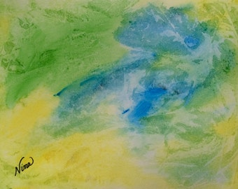 "Watercolor abstract art 9""x12"""