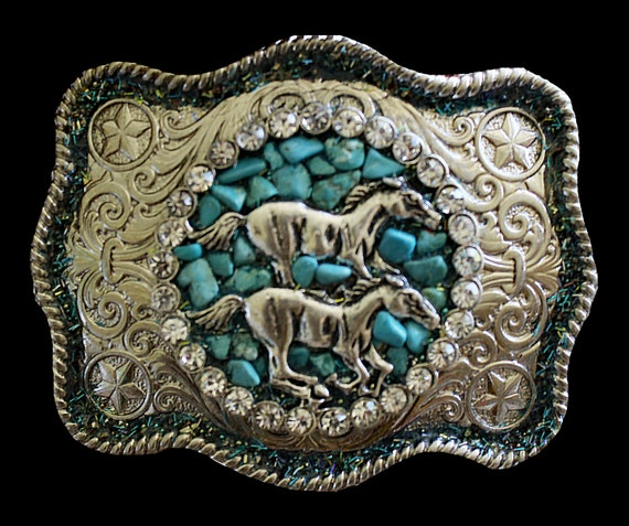 Women's Wild Mustang Horse Belt Buckle with Genuine Turquoise and Crystal Rhinestones