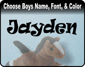 "Boys Personalized Custom Name Decal - Baby Nursery, boys bedroom vinyl wall art decal sticker / 23"" x 6"""