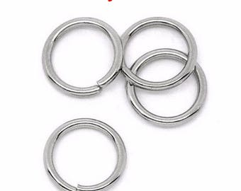 100 steel jump rings 8mm stainless
