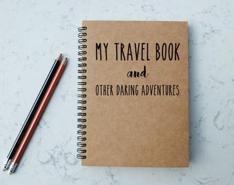 My Travel Book - A5 Spiral Notebook/Sketchbook/Kraft Journal/Personalized Journal - Blank/Lined paper - 086