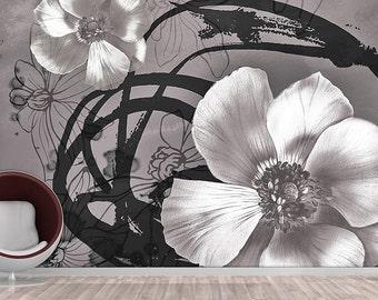 Flower Wall mural, Wallpaper, Wall décor, Wall decal, Nursery and room décor, Wall art