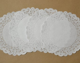100 - 6 inch white Normandy lace paper doilies clearance sale
