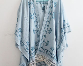 Kimono with Blue Embroidery and Lace Trim