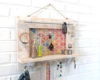 Jewelry Wall Organizer, Jewlery Organizer, Wall Organizer Jewelry, Jewlery Storage, Jewelry Holder, Boho multicolor, girlfriend gift