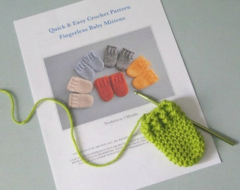 Easy Crochet Baby Thumbless Mitten Pattern, Quick, Easy Crochet Pattern, 0-3 Months, Crochet a Gift in Under an Hour!