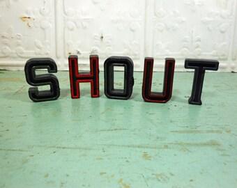 Vintage Alphabet Block Letters Shout Set of Five S H O U T