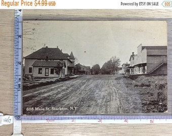 10%OFF3DAYSALE Vintage Old Post Card 608 Main St Stockton NY Post Marked Used