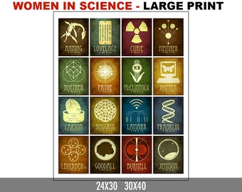 Women In Science Poster. Science Art Print. Teacher Gift. Chemistry Student Gift. Geek Girl STEM Gift. Women in History Rock Star Scientists