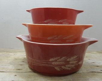 Set of Three Autumn Harvest Wheat, Vintage Pyrex Casserole set, vintage kitchen