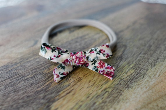 Brown Sugar Rose Baby Headband Bow, Nylon Headband, Toddler Headband, Baby Bow, Baby Girl Headband, Baby Girl Bow, Floral Headband, Bows