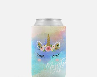 Majestic AF, Unicorn Can Cooler, Can Hugger, Beer Hugger,  Bachelorette Can Cooler, Personalized Coolies, Beach Can Coolers, Beach Coolies