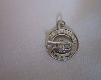 Vintage Souvenir New Orleans Jazz Trumpet Sterling Silver Creo Charm