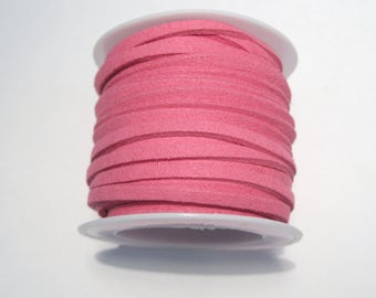 5 Meter/Roll Hot Pink Faux Suede Cord 3x1.5mm ( No.10)