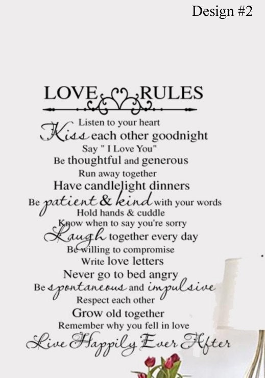 Love Rules Vinyl Wall Lettering Bedroom Decal Large