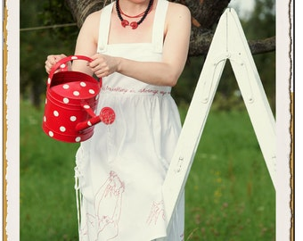 """Strap Dress, hand-embroidered, white, cotton - """"Loveletters"""""""