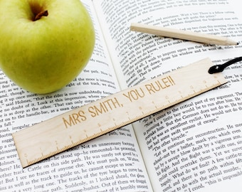 Customised Teacher Gift - You Rule! Custom Ruler Bookmark Pun Funny Present for Professor