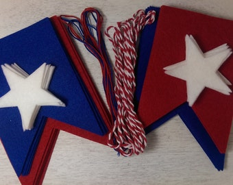 7ft 4th of July Felt Banner, Red White and Blue Garland, Memorial Day **KIT