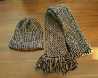 Double thick knitted winter hat with matching scarf / hat and scarf set / made and ready to ship