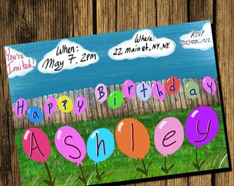 Name in Balloons Birthday Party Invite
