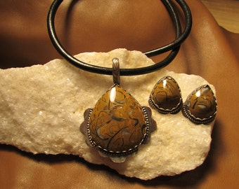 Clam Shell Fossil and Sterling Necklace and Post Earrings.
