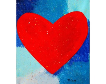 Original Painting On Canvas * RED HEART * Wall Hanging * Home Decor