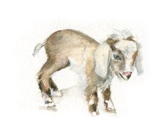 Watercolor Baby Goat, Baby Goat Print, Baby Goat Art, Farm Animal Art, Nursery Art