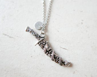 Sword Necklace Initial Monogram Stainless steel chain Personalized Custom