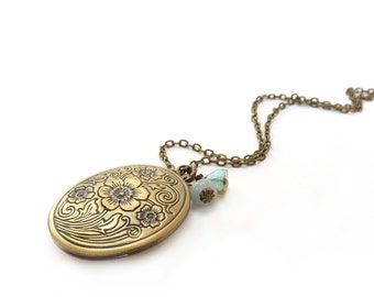 Antique Bronze Locket Necklace - Pale Blue Aquamarine Stone - Glass Flowers - Romantic Etched Photo Locket