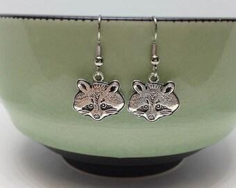 Silver Racoon Earrings