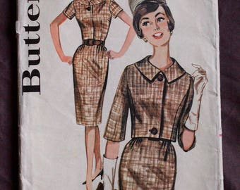 Misses 60s Wiggle Dress with Matching Waist Length Jacket Sewing Bee Jackie O Vintage 1960s Butterick 2181 Sewing Pattern Size 18 Bust 38