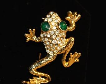 Gold Tone  Crystal Rhinestone Green-Eyed Frog Brooch