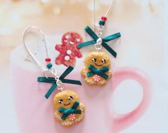 earrings gingerbread polymer clay