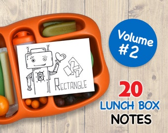 Vol 2 LUNCH BOX NOTES for Kids 20 Assorted Printable Cards Drawings Inspirational School Printables Art for Boys and Girls Lunchbox Letters