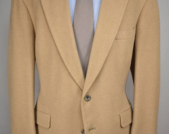 Christian Brooks Solid Tan 100% Camel Hair Two Button Sport Coat Size: 44R