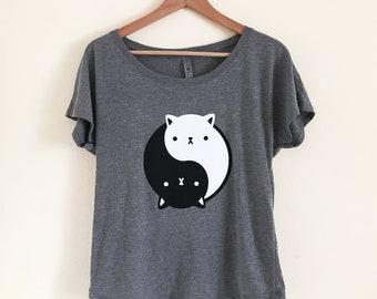 CAT T-Shirt - Yin Yang Kitty Shirt - Tri-Blend Dolman Top - Sizes S, M, L, XL, 2X