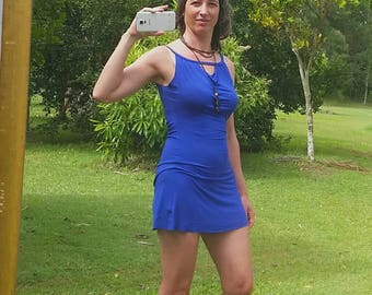 Super-soft stretchy scoop-back mini dress in royal blue bamboo fabric.