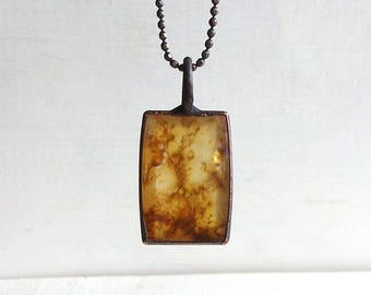 Quartz Necklace Dendrite Stone Copper Jewelry Crystal Gemstone Agate Stone Pendant Artisan Handmade