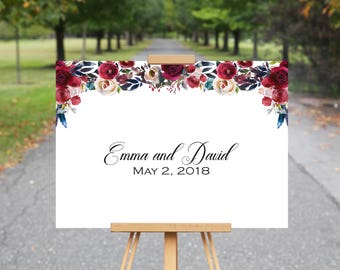 Boho Wedding Guest Book, Boho Wedding Decor, Guest Book Alternative, Wedding Guest Book Ideas, Boho Bordo Red White Blue Watercolor Flowers