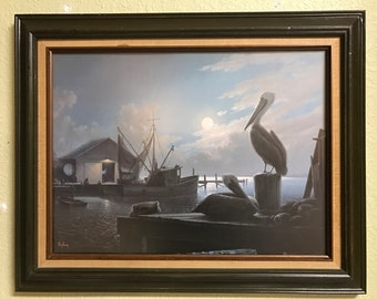 """Windberg Limited Edition Signed Print """"Pelicans Wharf"""""""