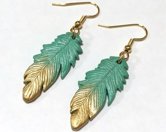 Mint Gold Dipped Feather Earrings, Handmade Polymer Clay Earrings, Turquoise and Gold with Hypoallergenic, Nickel Free Gold Plated Hooks